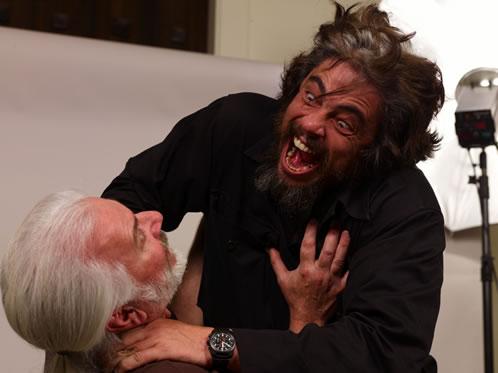 Rick Baker y Benicio del Toro hace tres meses... foto homenaje al Hombre Lobo de Lon Chaney Jr. sin maquillaje!